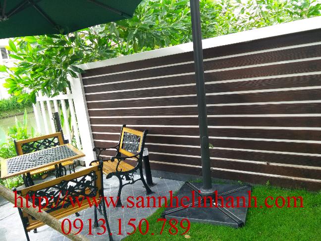 Tường hàng rào tấm xi măng giả gỗ