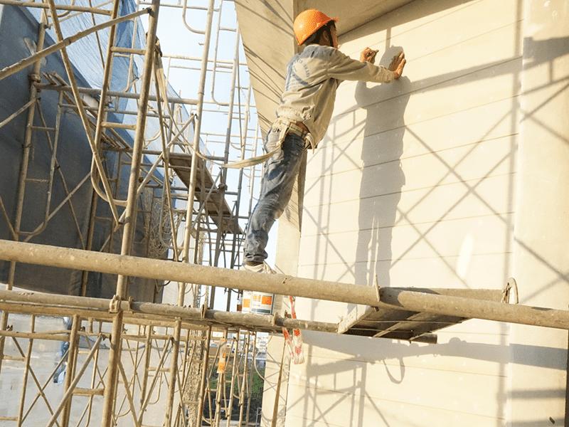 Công trình ốp tường tấm vẫn gỗ khách sạn Thái Bình